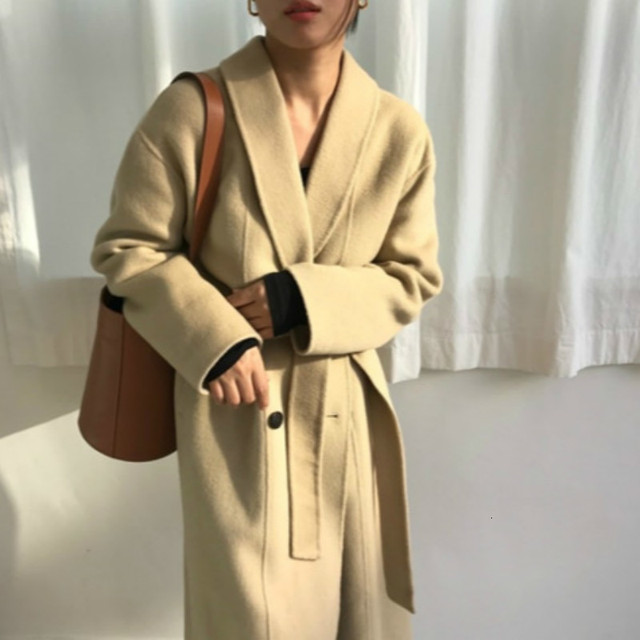 Korea Women Winter Yellow Long Cashmere Coat Slim Waist Elegant Overcoat with Waistbelt Pocket Loose Outerwear Jacket 1