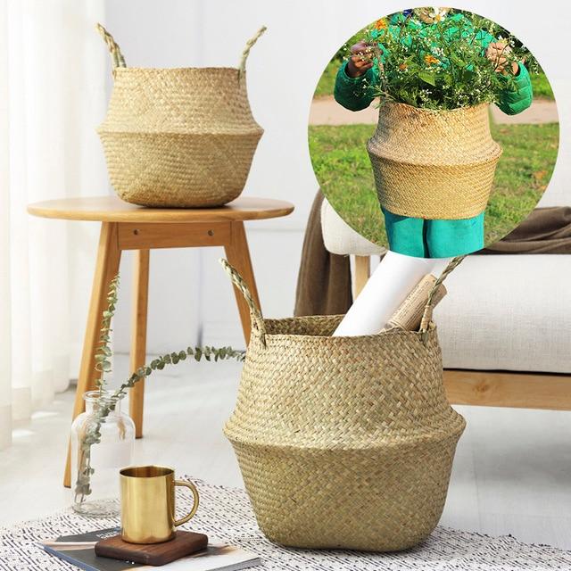 Home Docor 1pc Rattan Folding Basket Seaweed Wicker Baskets Dirty Laundry Storage Basket Home Storage