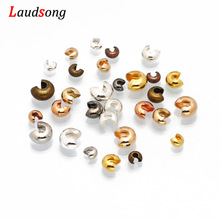 100pcs/lot 3 4 5 mm Copper Round Covers Knot Open Crimp End Beads Stopper Spacer Beads For DIY Jewelry Making Findings Supplies