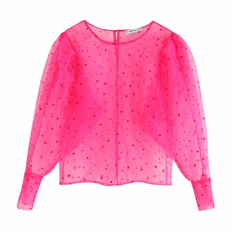 2019 Women Sexy Transparent Dots Pattern Casual Organza Blouse Shirts Women Smock Blusas Chic Puff Sleeve Femininas Tops LS4202