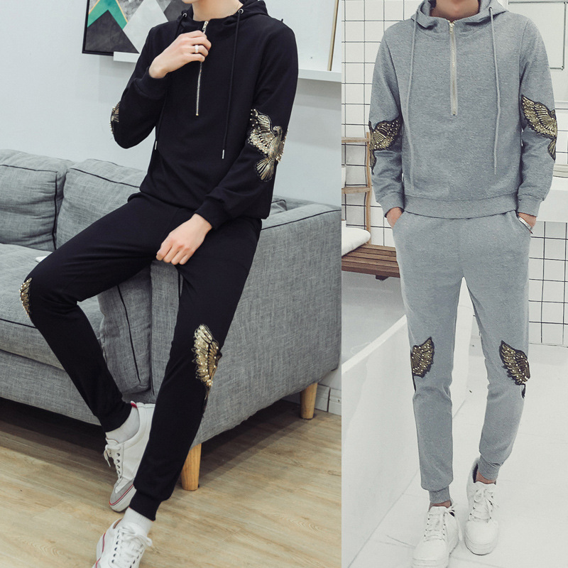 Fashion Hooded Long Sleeve Leisure Suit Large Size Korean-style Embroidered MEN'S Sweater Sports Set Men's