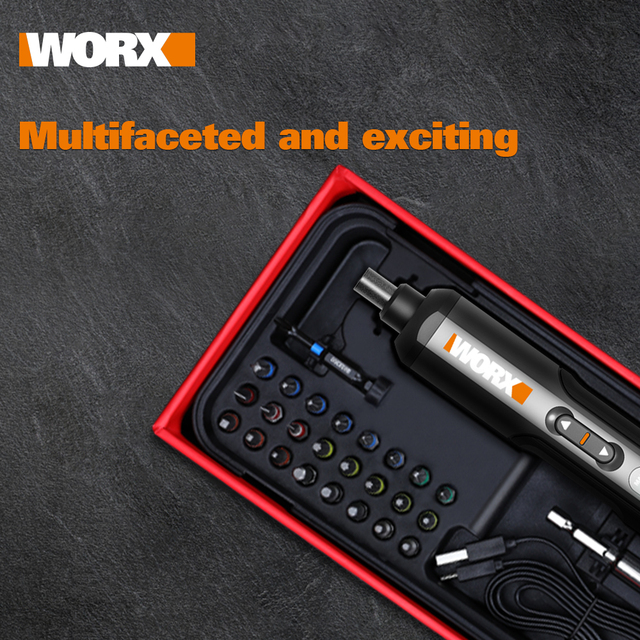 Worx 4V Mini Electrical Screwdriver Set WX240 Smart Cordless Electric Screwdrivers USB Rechargeable Handle with 26 Bit Set Drill 3