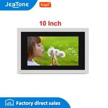 JeaTone 10 inç dokunmatik büyük ekran WIFI IP görüntülü kapı telefonu interkom kablolu tek monitör erişim kontrolü mobil uygulama uzaktan kilidini