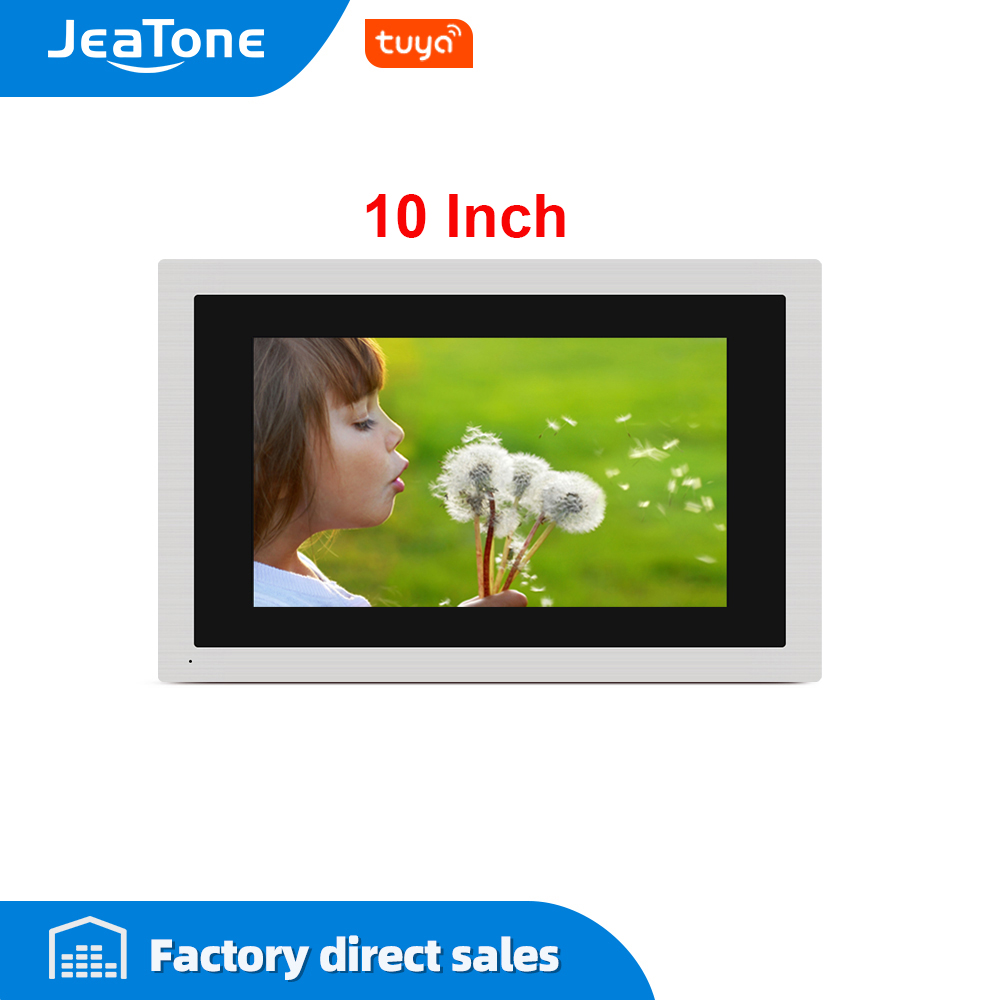 JeaTone 10 inch Touch Big Screen WIFI IP Video Door Phone Intercom Wired Single monitor Access Control Mobile App Remote Unlock image
