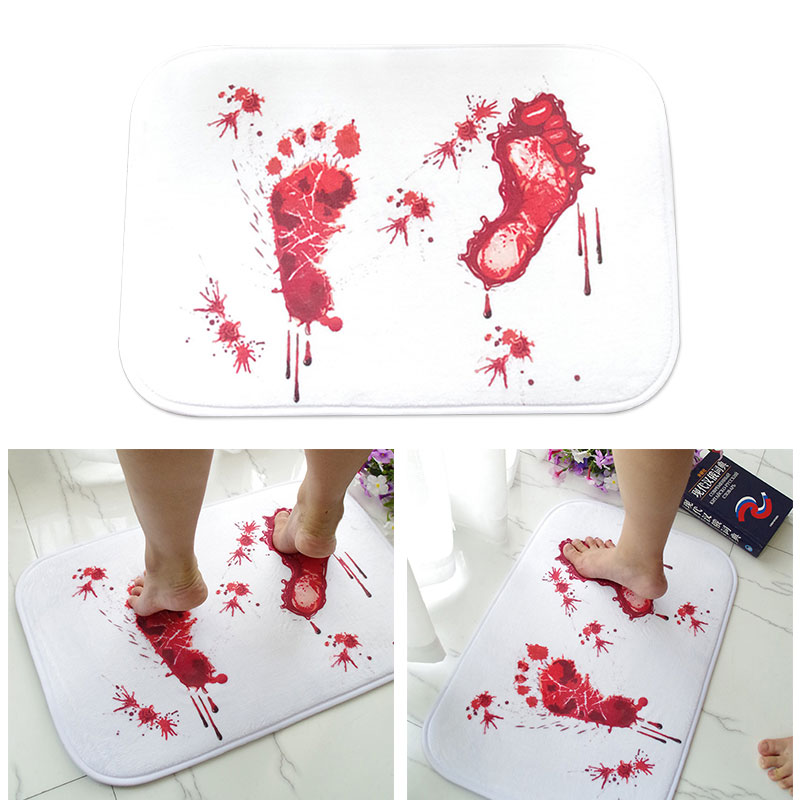 Novelty Non-Slip Rug 58*40*1cm Bathroom Blood Carpet Horror Drop Shipping Mat Rug New Creative Footprints Absorption Water Door
