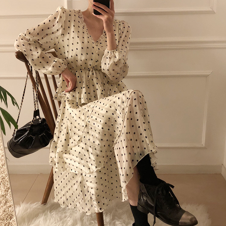 Hc87eae27272b4958a49c8daee11aa85f2 - Autumn V-Neck Long Sleeves Satin Polka Dots Multi-Layers Midi Dress
