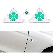3 pcs Quadrifólio Verde delta para Alfa Romeo 147 156 166 159 Giulietta Aranha Giulia GT Fender Lado Do Carro Emblema adesivo crachá