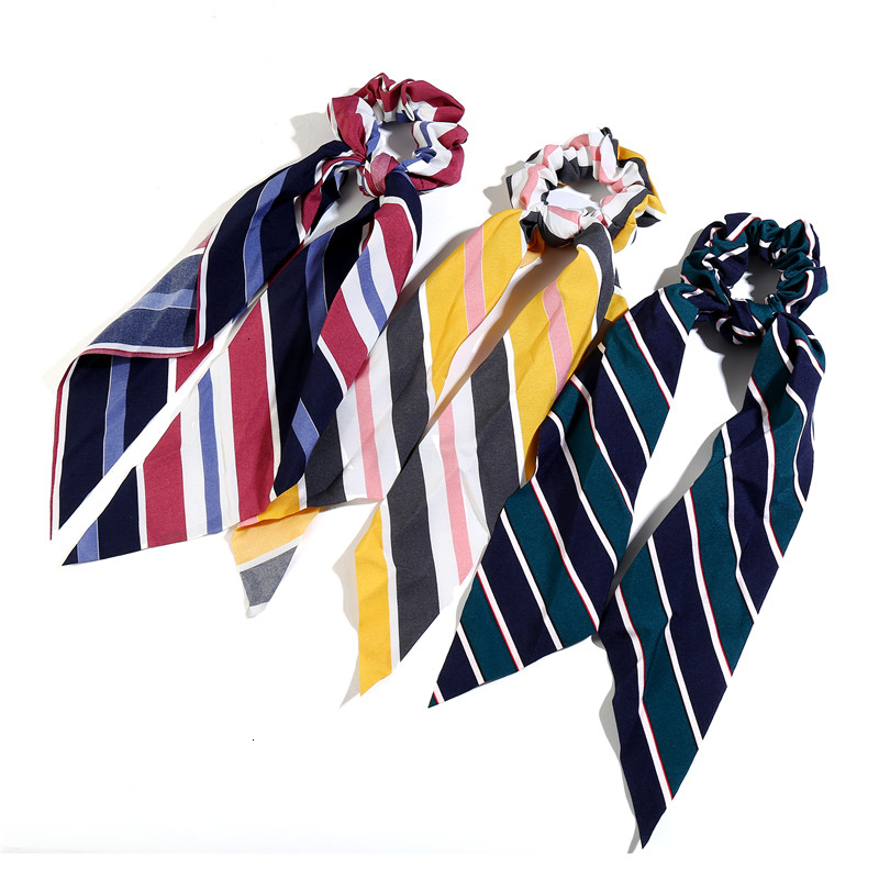 Fashion Stripe Long Scarf Scrunchies Women Hair Accessories Soft Handkerchief Ponytail Holder Girl Elastic Hair Bands Wholesale
