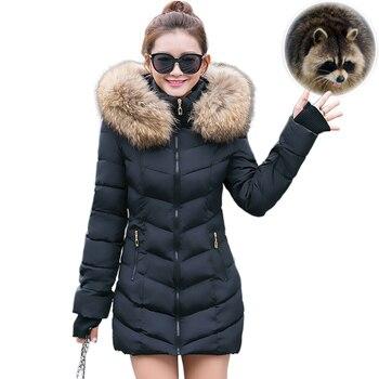 Doudoune Long et mince en fourrure de raton laveur pour femme, avec capuche, Parkas épais, vêtement d'extérieur chaud et d'hiver 2020 1