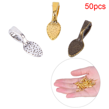 50pcs/set Tibetan Alloy Spoon Glue On Bails Leaf Flat Pad Pendant Bails Tone DIY Jewelry Making Accessories