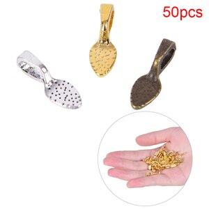 50pcs/set Tibetan Alloy Spoon Glue On Bails Leaf Flat Pad Pendant Bails Tone DIY Jewelry Making Accessories