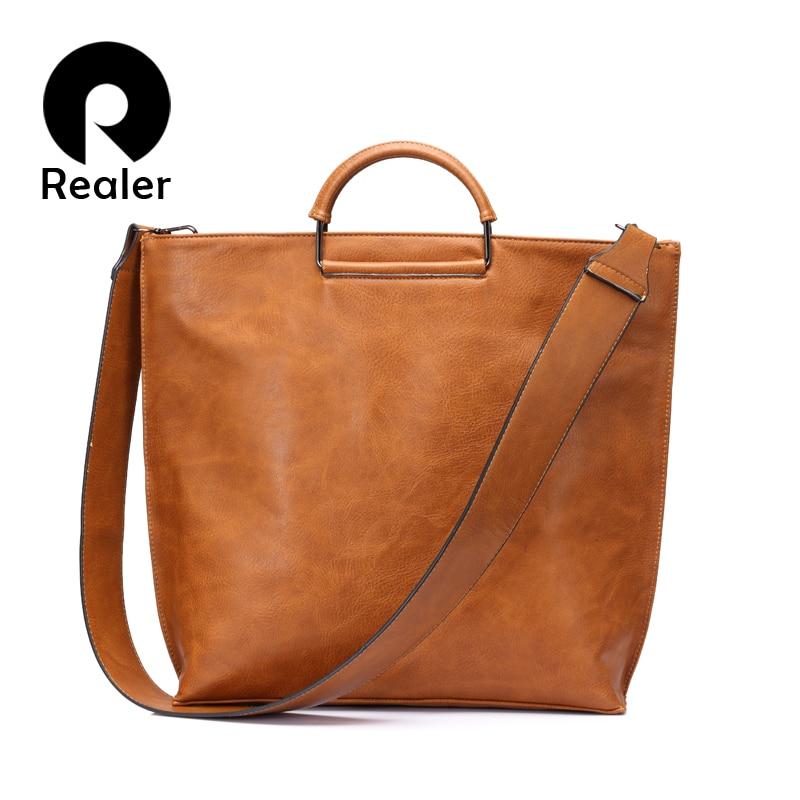 REALER artificial leather women handbag large totes female wide shoulder strap messenger bag ladies crossbody top-handle bags