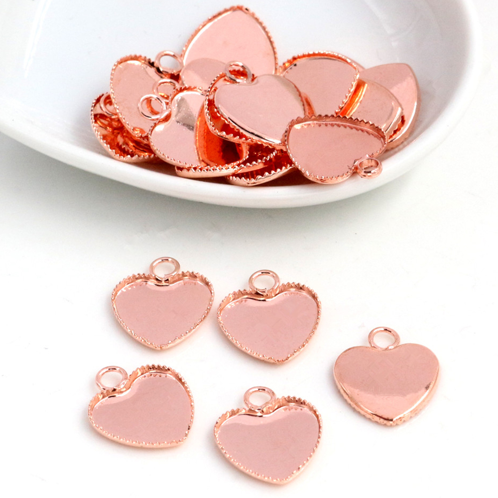 20pcs 12mm Inner Size  Rose Gold Color Plated Brass Material Heart Style Cabochon Base Cameo Setting Charms Pendant Tray (A1-26)