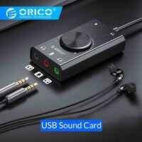 Orico portátil usb cartão de som externo microfone fone de ouvido dois-em-um com 3-port volume de saída ajustável para windows/mac/linux