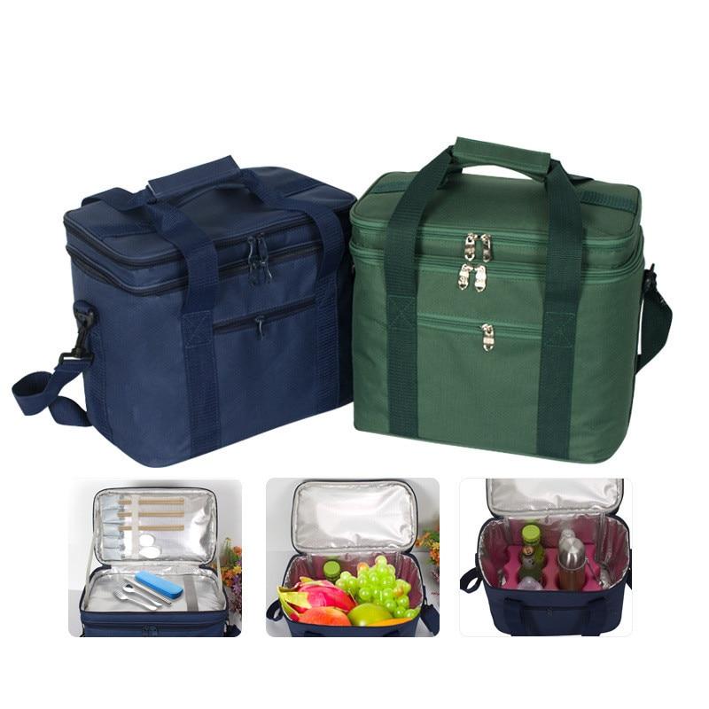 mujeres MIER Caja de almuerzo aislada Gran aislados Cool Tote Bag Kit de almuerzo para hombres negro refrigerador doble de la cubierta