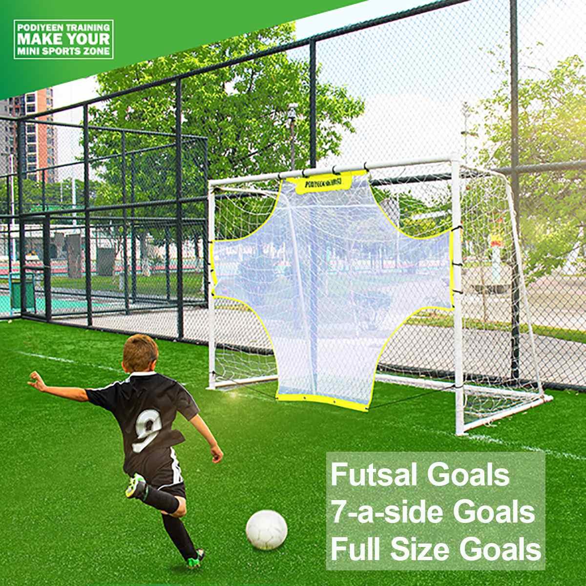 Soccer Target Practice Training Shot Goal Net Portable Ball Football Coach Tool Futsal 7-a-side Full Size Goals Nets