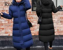 Rubilove Plus size 3XL Down jackets 2019 Fashion Women Winter Coat Long Slim Thicken Warm Jacket Down Cotton Padded Jacket Outer цены онлайн