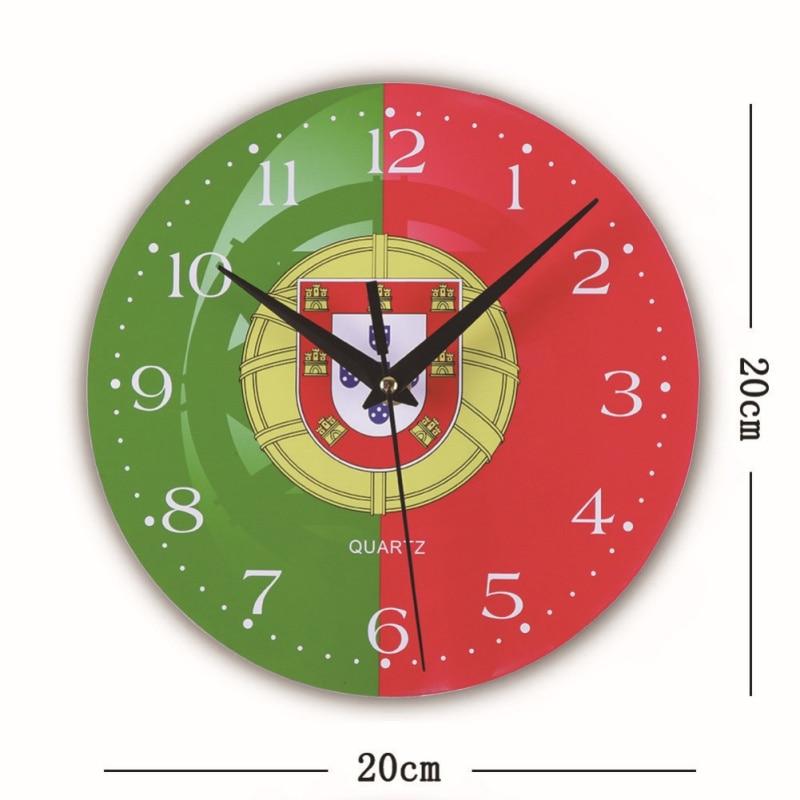 NEW Mute Run Wall Clock Creative Wall Clocks World Cup Flag Wood Clock Living Room Needle Quartz Wall Hanging Clock Home Decor