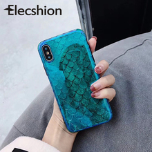 Elecshion Blue Ray Case For iPhone 6 7 8 Plus Green Phone Protection Coque XR XS Max Fashion Covers Mermaid