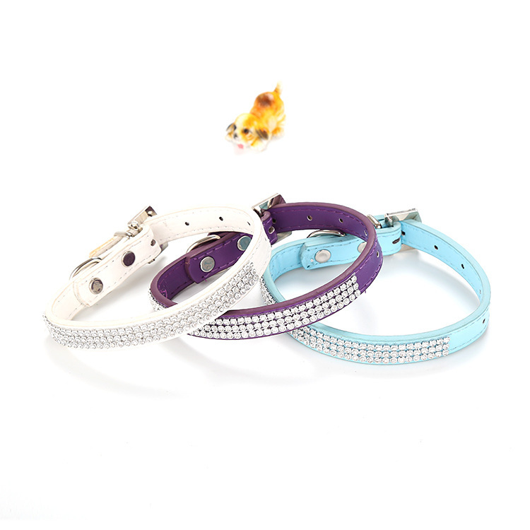New Style Pet Cat Dog Neck Ring With Diamond Flash Traction Neck Ring Fresh Matching Color