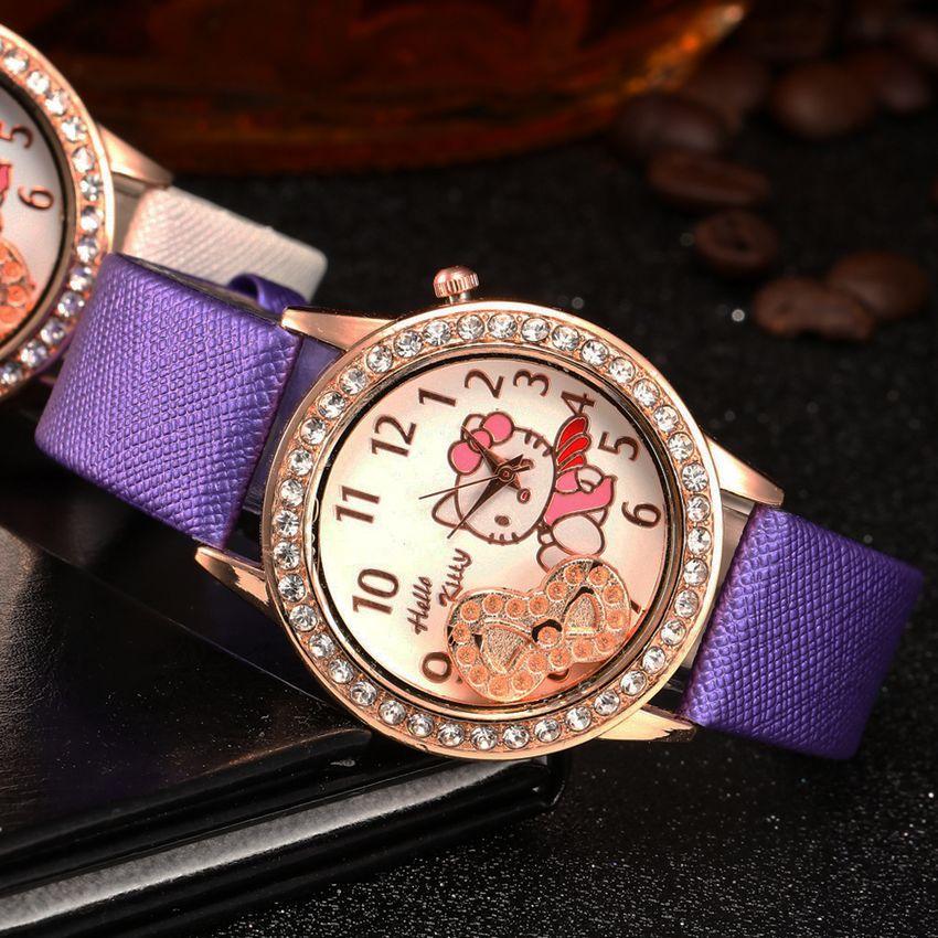 High Quality Children's Watches Hot Children's Girl Leather Quartz Rhinestone Fashion Minimalist Watch