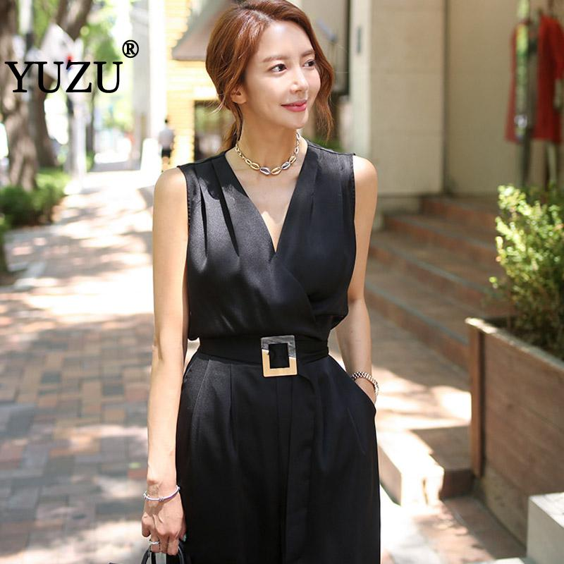 Black Jumpsuits Overalls Gothic Sleevess V Neck Belt Wide-legged Fashion Nova Woman Boot Cut Solid Pockets Romper