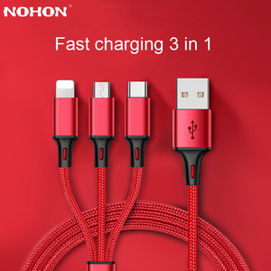 3 in 1 USB Cable For iPhone 6 7 8 Plu X XR Samsung S7 Xiaomi Multi Fast Charge Charger Micro USB Type C Android Phone Cable Cord(China)