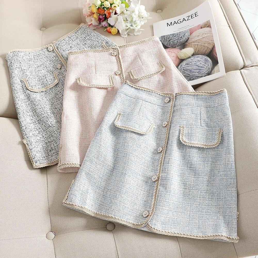 MUMUZI Slim Single-breasted Pocket Tweed Skirt Package Hip High Waist Skirt Female Fake Pockets Short Skirts Saias Faldas
