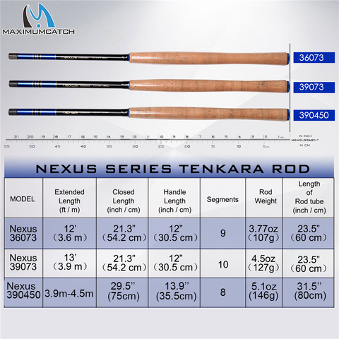 Maximumcatch Nexus 12/13ft Tenkara Telescoping Fly Rod 7:3 Action Fishing Rod Sock Carbon Tube with Line Keeper and Fly Line Lahore