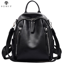 Casual backpack women Solid Color Pu Leather Simple  Zipper Bookbags And Girls Travel Backpacks SZHIY