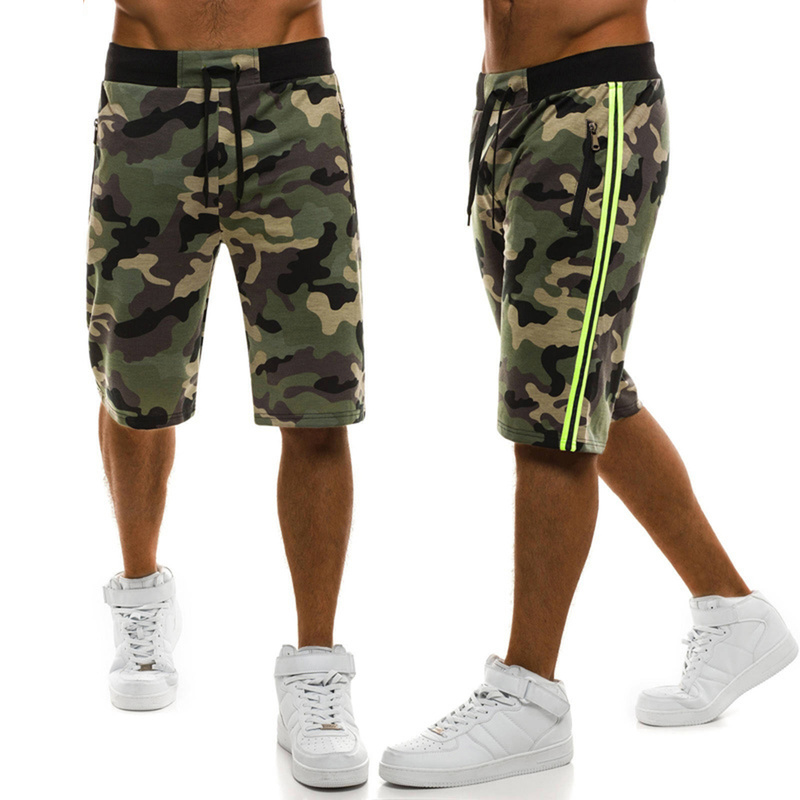 ZOGAA Summer Men's Cargo Shorts Military Camouflage Casual Shorts Drawstring Loose Men Straight Shorts Knee Length Beach Shorts