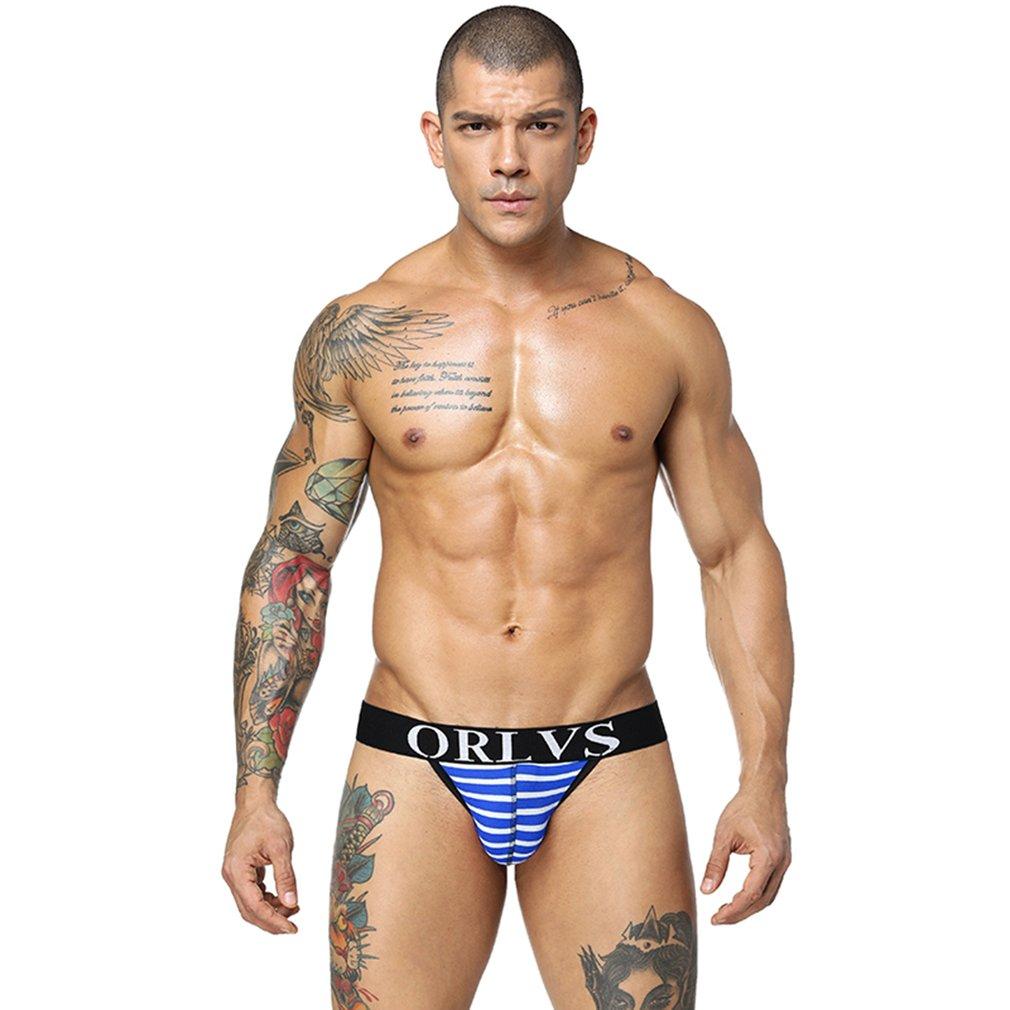 4 Colors Summer Gay Men Underwear Soft Striped Men G-strings Sexy Thongs Mens Jockstrap Slip Bikini