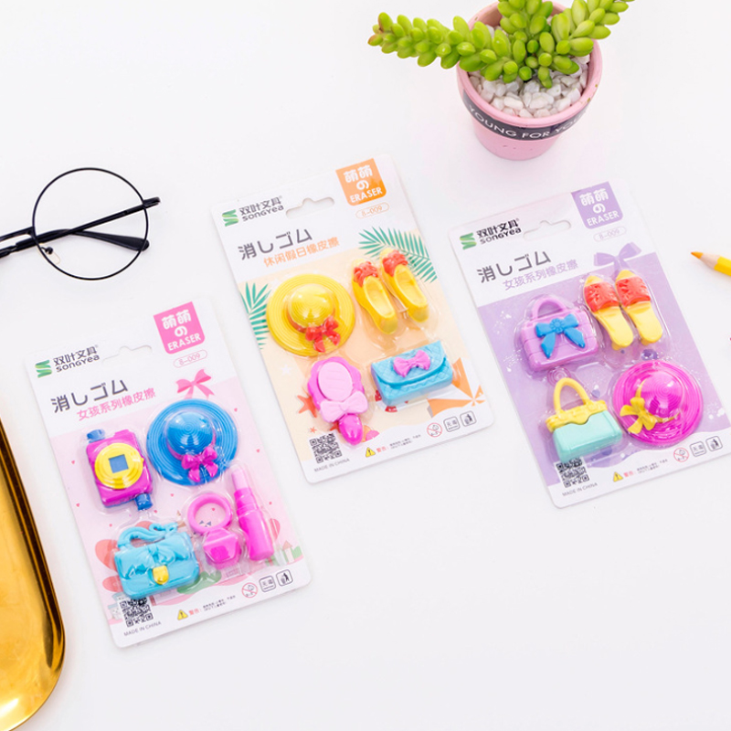 28sets/lot Handbag Girl Series Gift School Stationery Hat High Heel Eraser Set School Supplies Party Favor Gift
