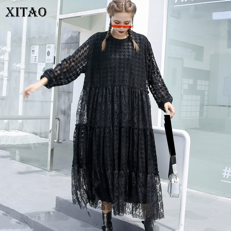XITAO Black Lace Dress Women Loose Fashion Hollow Out 2020 New Autumn Full Sleeve Elegant Plus Size Dress Goddess Fan ZP2780