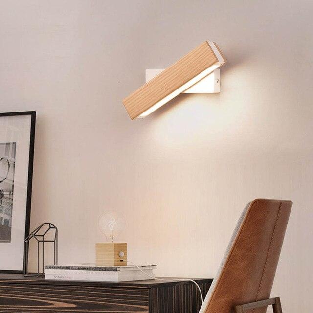 Lampe murale moderne en bois massif pivotant à LED degrés, éclairage de chevet, chambre à coucher, salon, couloir, Art décoratif