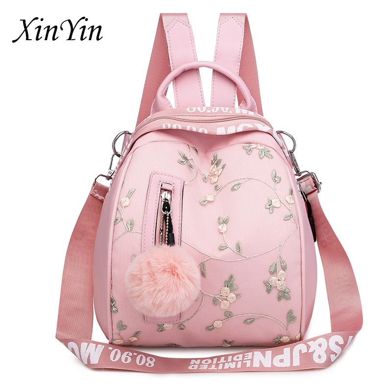 Flower Embroidery Fresh Women Backpack New Oxford Multifunctional Shoulder Bags Youth Girl School Bag Hairball Travel Back Pack