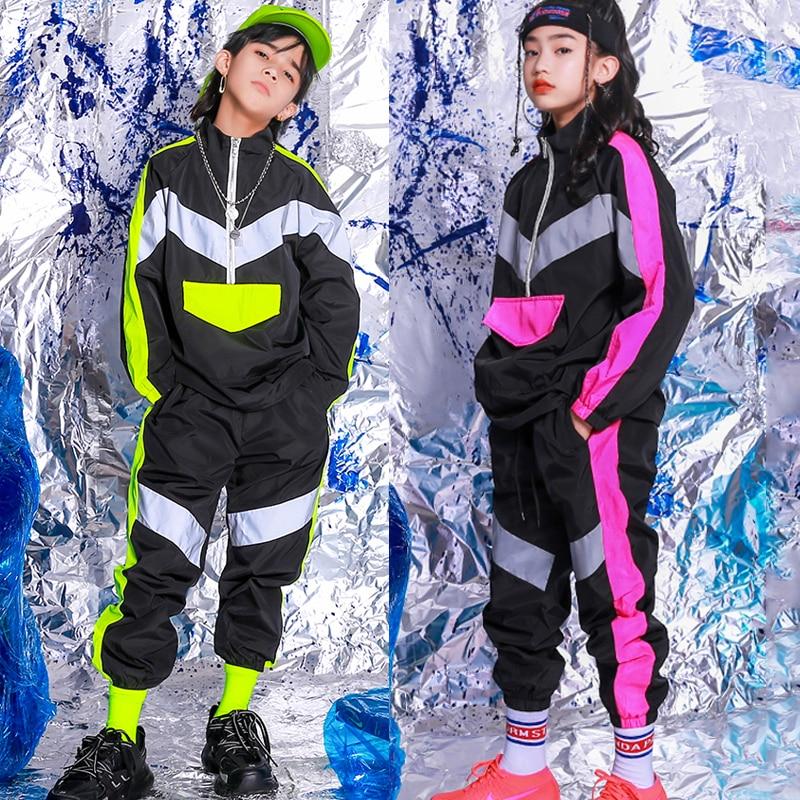 Kids Hip Hop Dance Clothes Fluorescent  Tops Pant Reflective Jacket Street Wear Ballroom Prom Boys Girls Performing Costume 3621