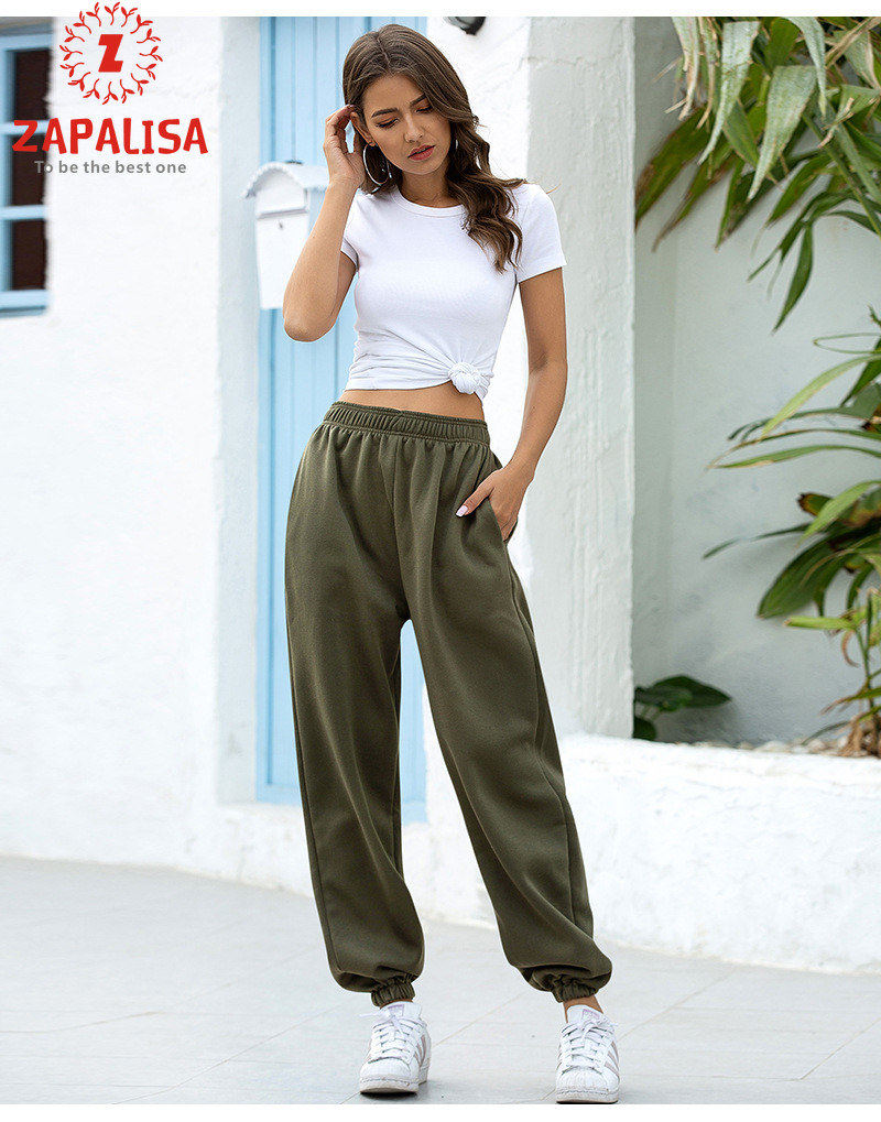 Zapalisa Solid Color Patchwork Streetwear Causal Sprot Sytle Ankle Banded Pants Harajuku Loose Comfortable High Waist Pants