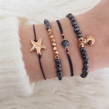 Classic Shell Starfish Round Crystal Gem Multilayer Adjustable Open Bracelet Set Women Fashion Party Jewelry Gift