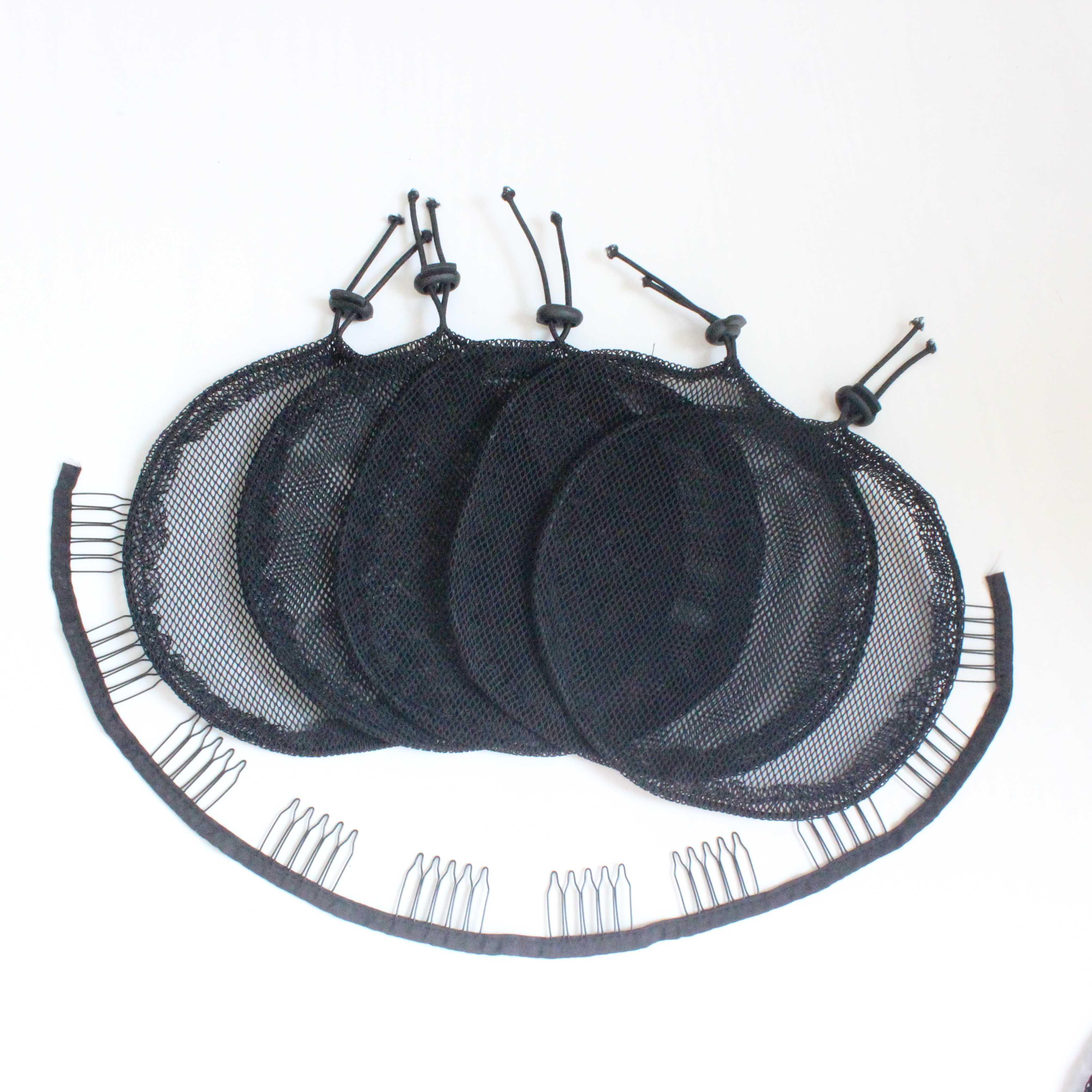 Rede de rabo de cavalo 5 pçs hairnet peruca tampão para fazer rabo de cavalo afro puff bun net tecelagem peruca que faz a ferramenta quadrado redondo