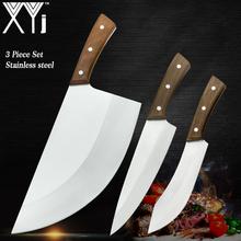 XYj 3 sztuk ze stali nierdzewnej chiński nóż rzeźnicki zestaw serbski tasak do usuwania kości narzędzie Cleaver fileting szeroki nóż ręcznie kute tanie tanio STAINLESS STEEL Trzy częściowy zestaw Ce ue Lfgb Zestawy noży Ekologiczne
