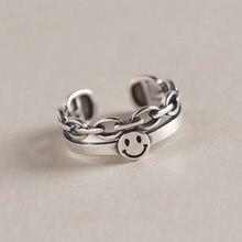 Anéis de estilo retro afligido smiley face chain aberto único anéis homem e mulher o mesmo estilo brilhante ajustável bing bunny party