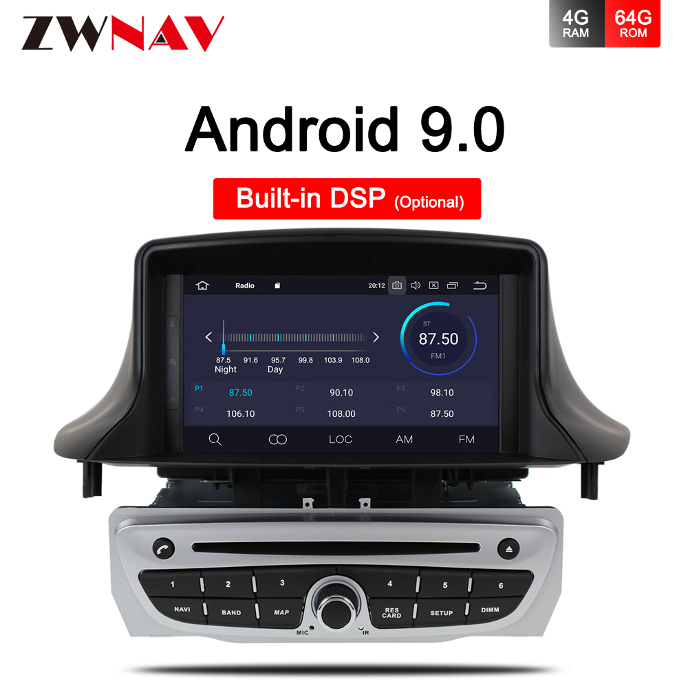 IPS 4+64G Android 9.0 Car Stereo DVD Player <font><b>GPS</b></font> Glonass Navigation for Renault <font><b>Megane</b></font> <font><b>3</b></font> Fluence 2009-2015 Video Multimedia Radio image
