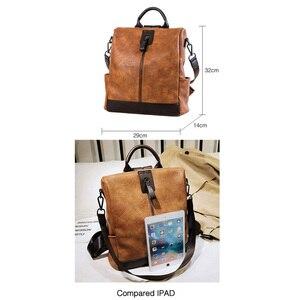 Image 3 - Moda kadınlar yüksek kaliteli deri sırt çantası çok fonksiyonlu deri sırt çantaları büyük sırt çantası seyahat çantaları okul çantaları genç kız için