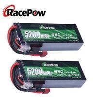 RacePow-Estuche Duro de batería Lipo de 7,4 V, 5200mAh, 65C, 2S, con enchufe T Deans para coche de control remoto, Traxxas, camión trepador, 2 unidades