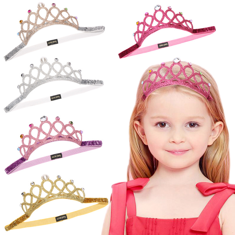 Girl Hair Accessories Headband Hollow Out Glitter Rhinestone Crystal Crown Princess Birthday  Party Hair Accessories