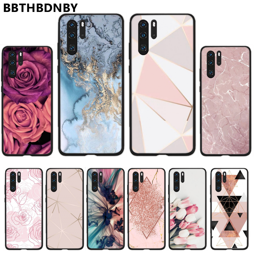Marble Gold Rose Glitter Pink Luxury Phone <font><b>Case</b></font> For <font><b>Huawei</b></font> P9 P10 <font><b>P20</b></font> P30 Pro <font><b>Lite</b></font> smart <font><b>Mate</b></font> 10 <font><b>Lite</b></font> 20 Y5 Y6 Y7 2018 2019 image