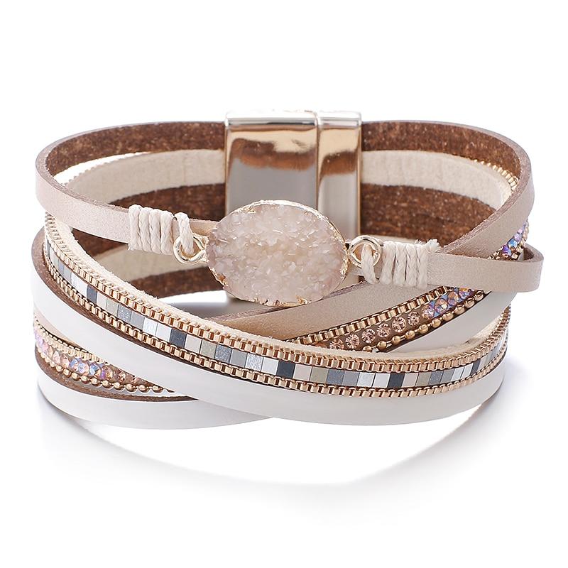 Amorcome Stone Charm Leather Bracelets For Women 2020 Fashion Crystal Ladies Boho Multilayer Wide Wrap Bracelet Female Jewelry|Charm Bracelets| - AliExpress