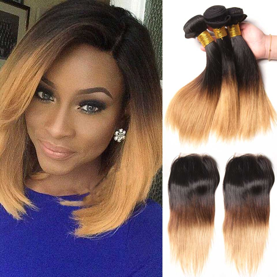 Ombre Bob Straight Hair Brazilian Human Hair Bundles With Closure 3 Bundles With Closure Non Remy Two Tone 1B/27 Hair Weave