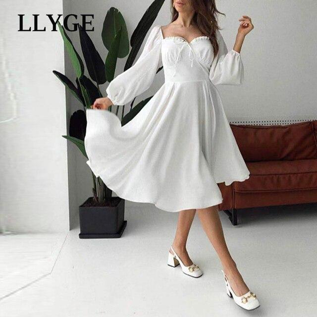 Elegant Spring White Women's Dress Vintage High Waist Puff Long Sleeve Female Dresses 2021 Spring Fashion Office Ladies Vestidos 6